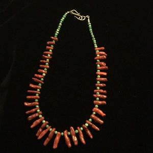 Turquoise and dyed coral necklace.